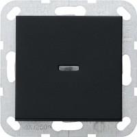 Gira 0122005 System 55 Tast-Kontrollschalter mit Wippe Ausschalter 2-polig Schwarz matt