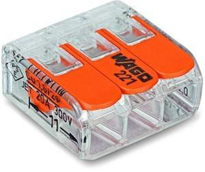 WAGO 221-413 COMPACT-Verbindungsklemme 50Stück Für alle Leiterarten 3-Leiter bis 4qmm