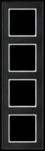 JUNG AC584GLSW A creation Glasrahmen, schwarz 4fach