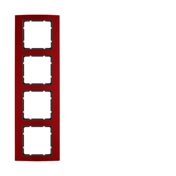 Berker 10143012 B.3 Rahmen 4-fach Alu rot/anthrazit